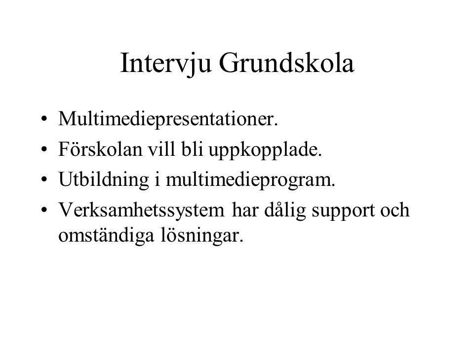 Intervju Grundskola Multimediepresentationer. Förskolan vill bli uppkopplade.