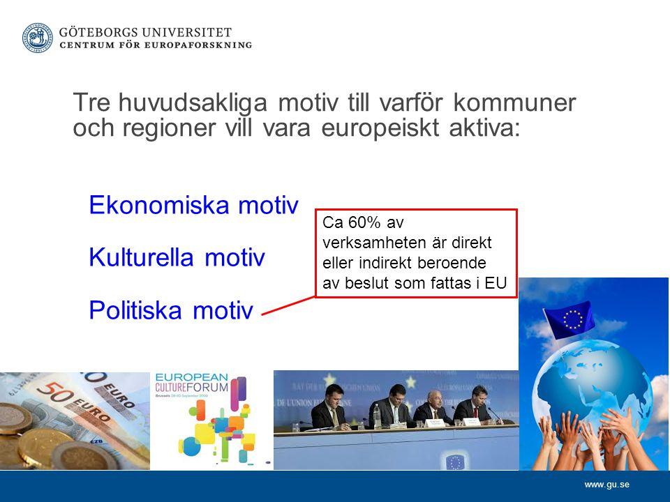 www.gu.se Tre huvudsakliga motiv till varf ö r kommuner och regioner vill vara europeiskt aktiva: Ekonomiska motiv Kulturella motiv Politiska motiv Ca 60% av verksamheten är direkt eller indirekt beroende av beslut som fattas i EU
