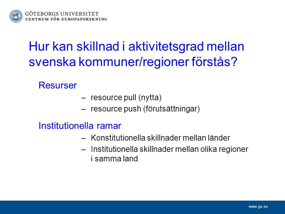 www.gu.se Hur kan skillnad i aktivitetsgrad mellan svenska kommuner/regioner förstås.