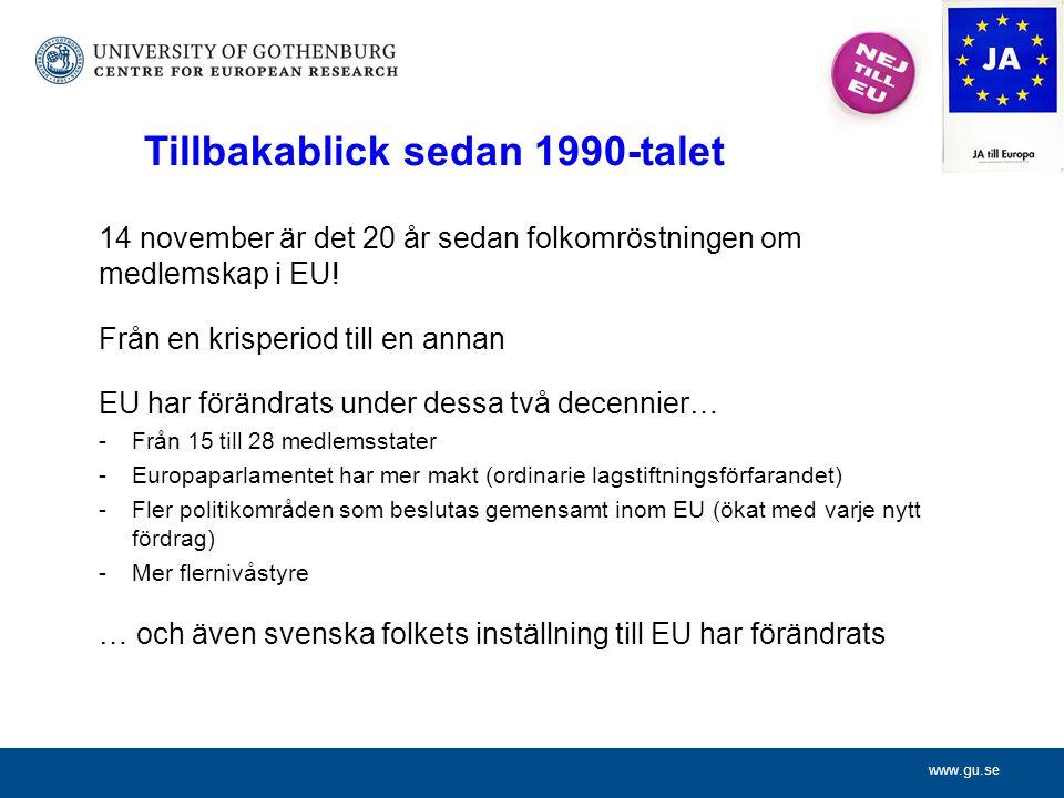 www.gu.se 14 november är det 20 år sedan folkomröstningen om medlemskap i EU.