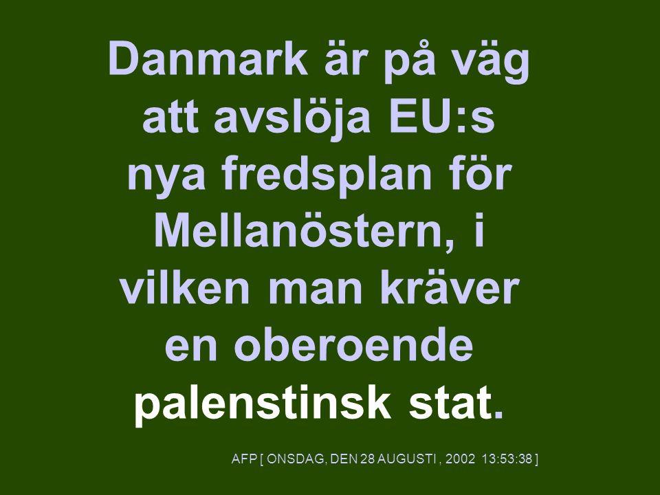 Danmark är på väg att avslöja EU:s nya fredsplan för Mellanöstern, i vilken man kräver en oberoende palenstinsk stat.