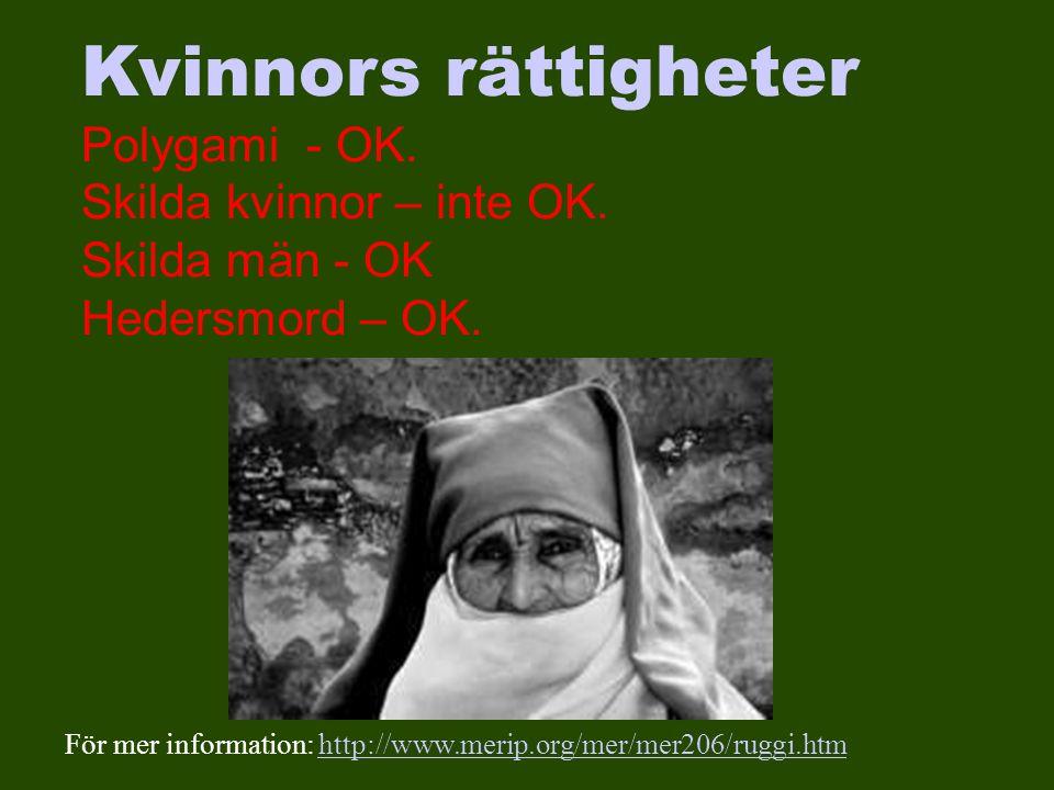 Kvinnors rättigheter Polygami - OK. Skilda kvinnor – inte OK.