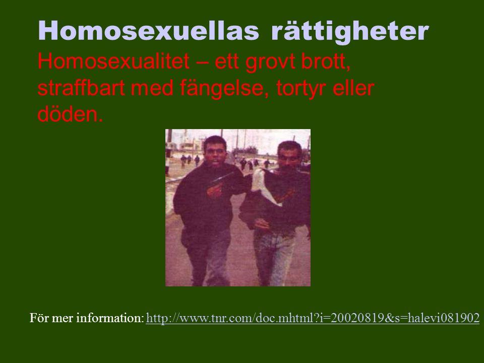 För mer information: http://www.tnr.com/doc.mhtml?i=20020819&s=halevi081902http://www.tnr.com/doc.mhtml?i=20020819&s=halevi081902 Homosexuellas rättigheter Homosexualitet – ett grovt brott, straffbart med fängelse, tortyr eller döden.