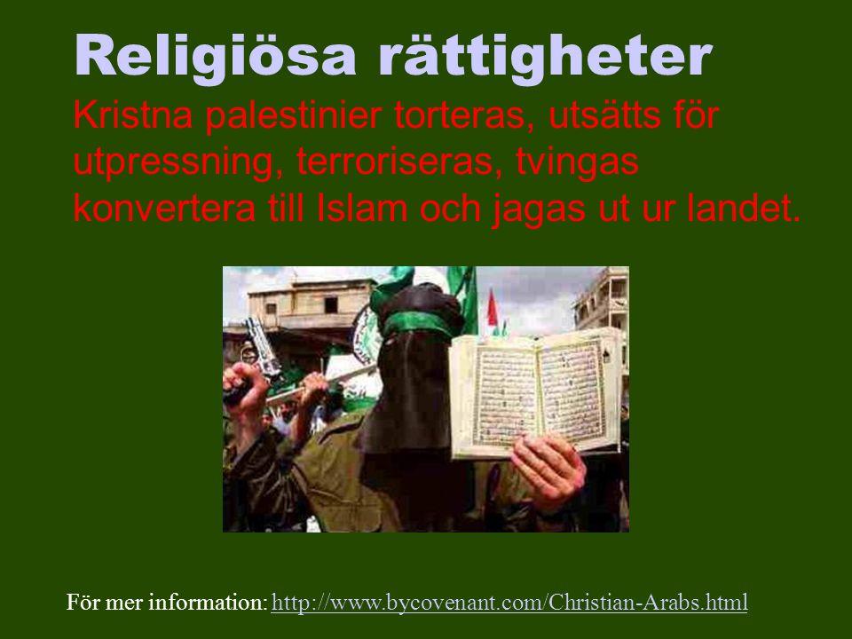 Religiösa rättigheter Kristna palestinier torteras, utsätts för utpressning, terroriseras, tvingas konvertera till Islam och jagas ut ur landet.