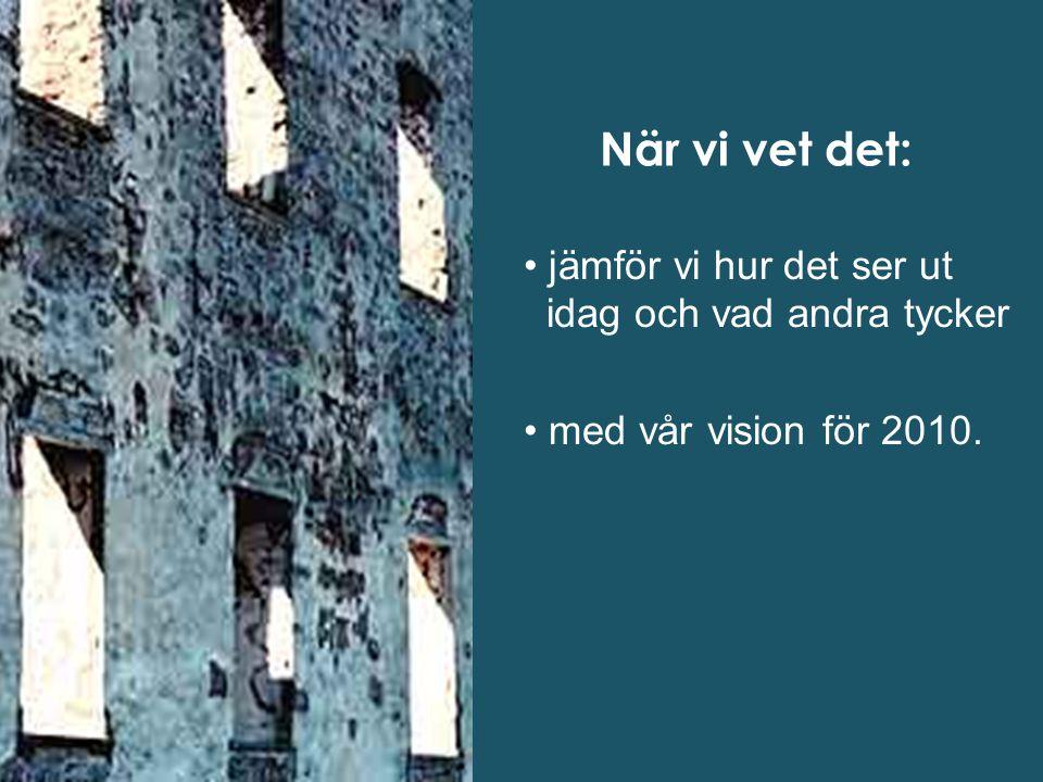 När vi vet det: jämför vi hur det ser ut idag och vad andra tycker med vår vision för 2010.