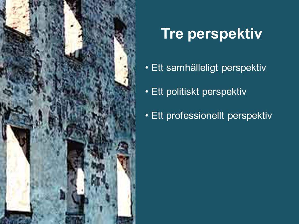 Tre perspektiv Ett samhälleligt perspektiv Ett politiskt perspektiv Ett professionellt perspektiv