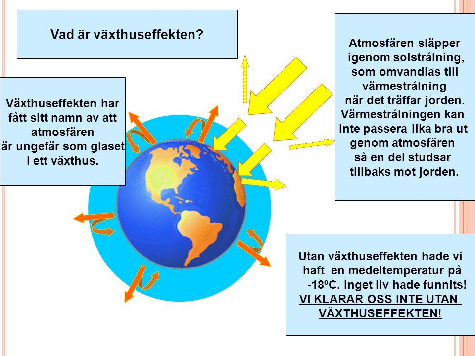 Vattenånga (H 2 O) Avdunstning från vatten och växter, varierar naturligt Koldioxid (CO 2 ) Förbränning, etc.