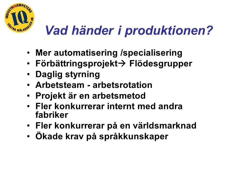 Vad händer i produktionen? Mer automatisering /specialisering Förbättringsprojekt  Flödesgrupper Daglig styrning Arbetsteam - arbetsrotation Projekt