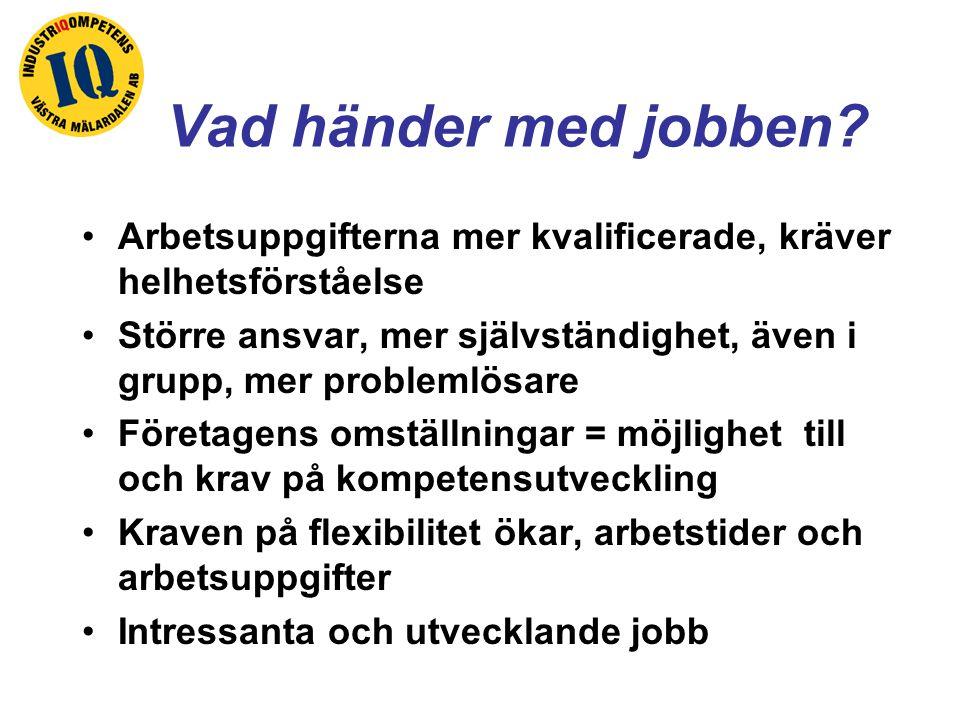 Vad händer med jobben? Arbetsuppgifterna mer kvalificerade, kräver helhetsförståelse Större ansvar, mer självständighet, även i grupp, mer problemlösa