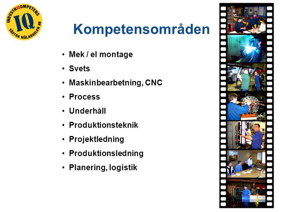 Mek / el montage Svets Maskinbearbetning, CNC Process Underhåll Produktionsteknik Projektledning Produktionsledning Planering, logistik Kompetensområden