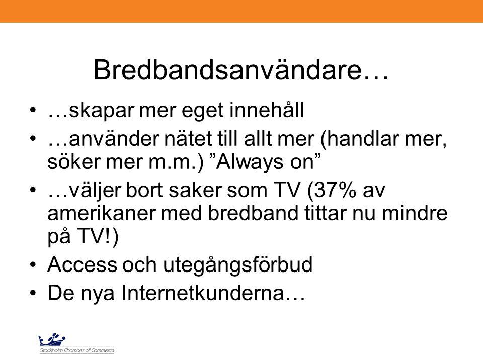 Bredbandsanvändare… …skapar mer eget innehåll …använder nätet till allt mer (handlar mer, söker mer m.m.) Always on …väljer bort saker som TV (37% av amerikaner med bredband tittar nu mindre på TV!) Access och utegångsförbud De nya Internetkunderna…