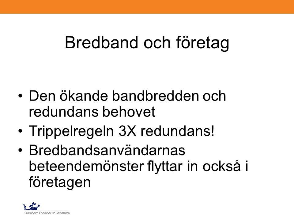 Bredband och företag Den ökande bandbredden och redundans behovet Trippelregeln 3X redundans! Bredbandsanvändarnas beteendemönster flyttar in också i