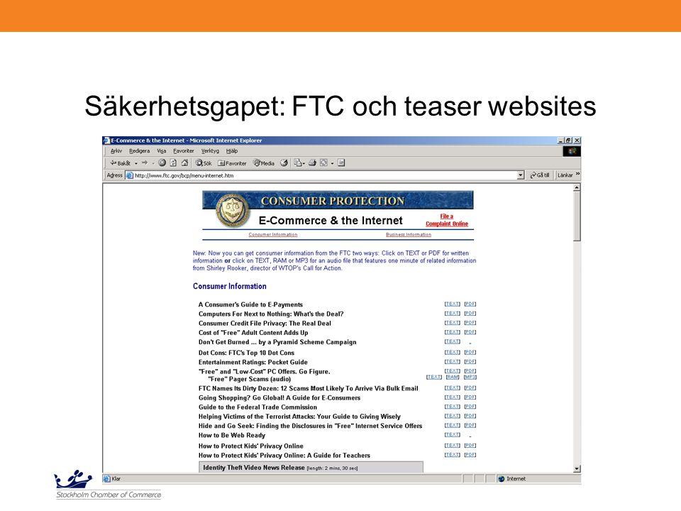 Säkerhetsgapet: FTC och teaser websites
