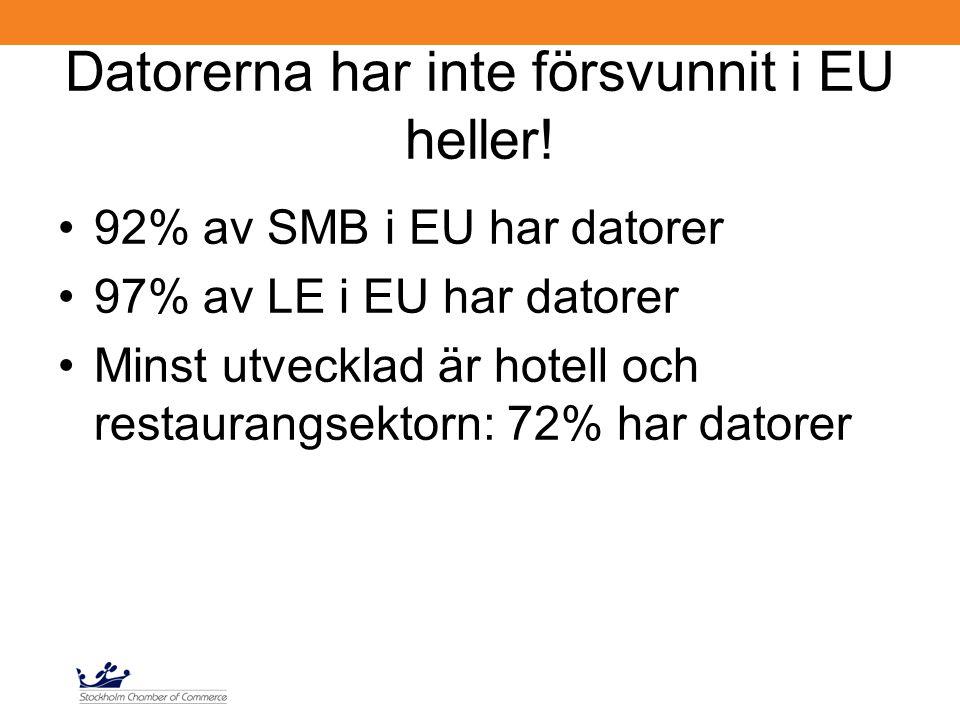 Datorerna har inte försvunnit i EU heller! 92% av SMB i EU har datorer 97% av LE i EU har datorer Minst utvecklad är hotell och restaurangsektorn: 72%