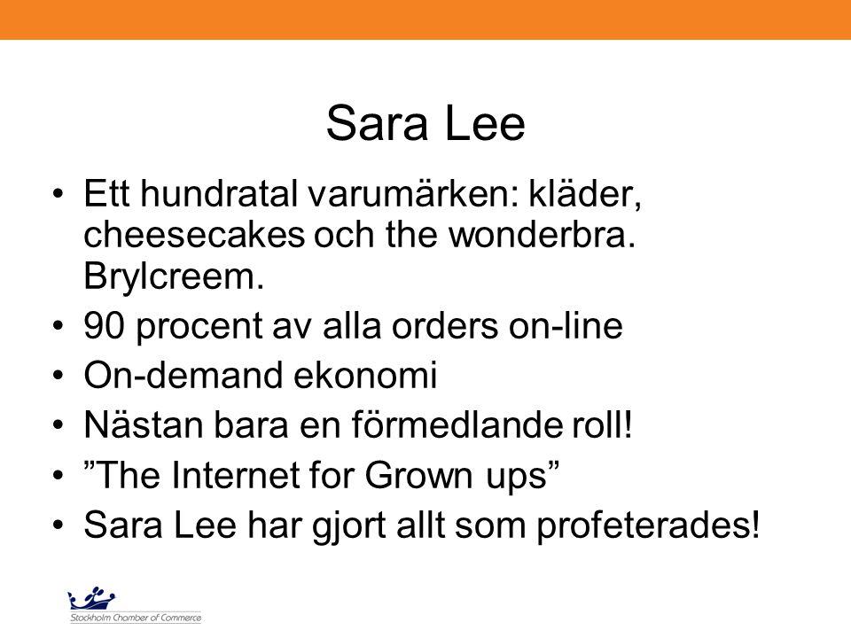 Sara Lee Ett hundratal varumärken: kläder, cheesecakes och the wonderbra. Brylcreem. 90 procent av alla orders on-line On-demand ekonomi Nästan bara e