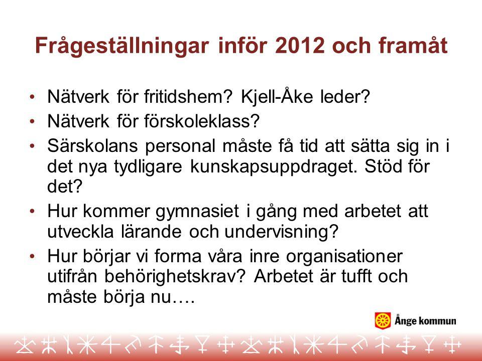 Frågeställningar inför 2012 och framåt Nätverk för fritidshem.