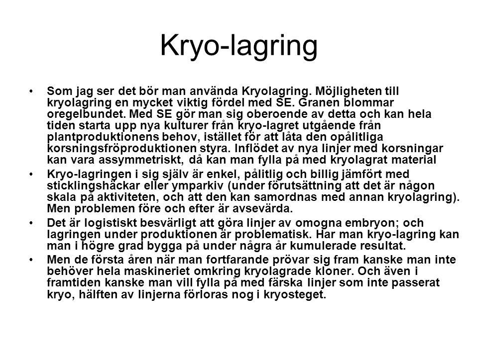 Kryo-lagring Som jag ser det bör man använda Kryolagring. Möjligheten till kryolagring en mycket viktig fördel med SE. Granen blommar oregelbundet. Me