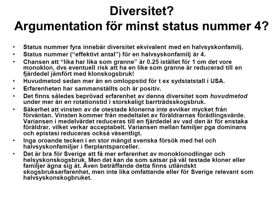 """Diversitet? Argumentation för minst status nummer 4? Status nummer fyra innebär diversitet ekvivalent med en halvsyskonfamilj. Status nummer (""""effekti"""