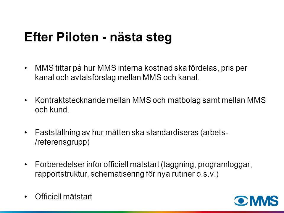 Efter Piloten - nästa steg MMS tittar på hur MMS interna kostnad ska fördelas, pris per kanal och avtalsförslag mellan MMS och kanal. Kontraktstecknan