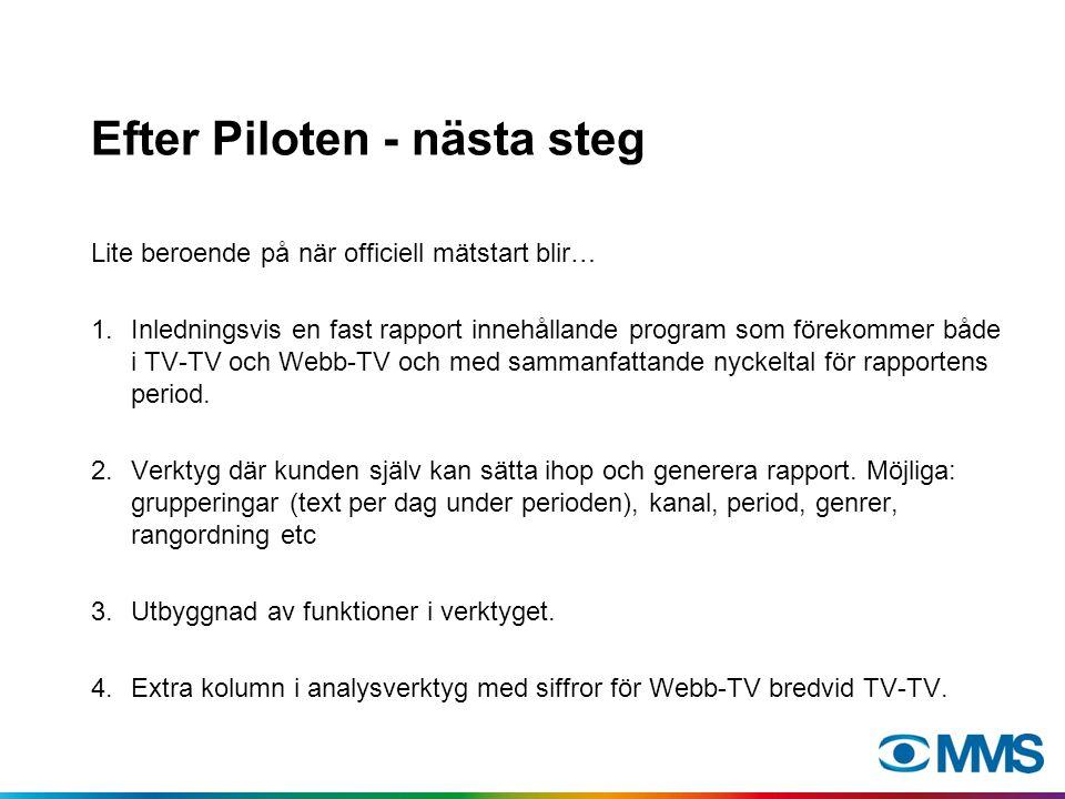 Efter Piloten - nästa steg Lite beroende på när officiell mätstart blir… 1.Inledningsvis en fast rapport innehållande program som förekommer både i TV-TV och Webb-TV och med sammanfattande nyckeltal för rapportens period.