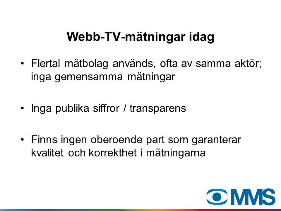 Webb-TV-mätningar idag Flertal mätbolag används, ofta av samma aktör; inga gemensamma mätningar Inga publika siffror / transparens Finns ingen oberoen