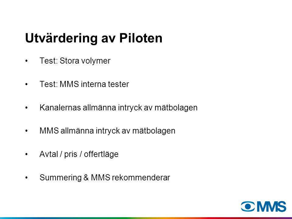 Utvärdering av Piloten Test: Stora volymer Test: MMS interna tester Kanalernas allmänna intryck av mätbolagen MMS allmänna intryck av mätbolagen Avtal / pris / offertläge Summering & MMS rekommenderar