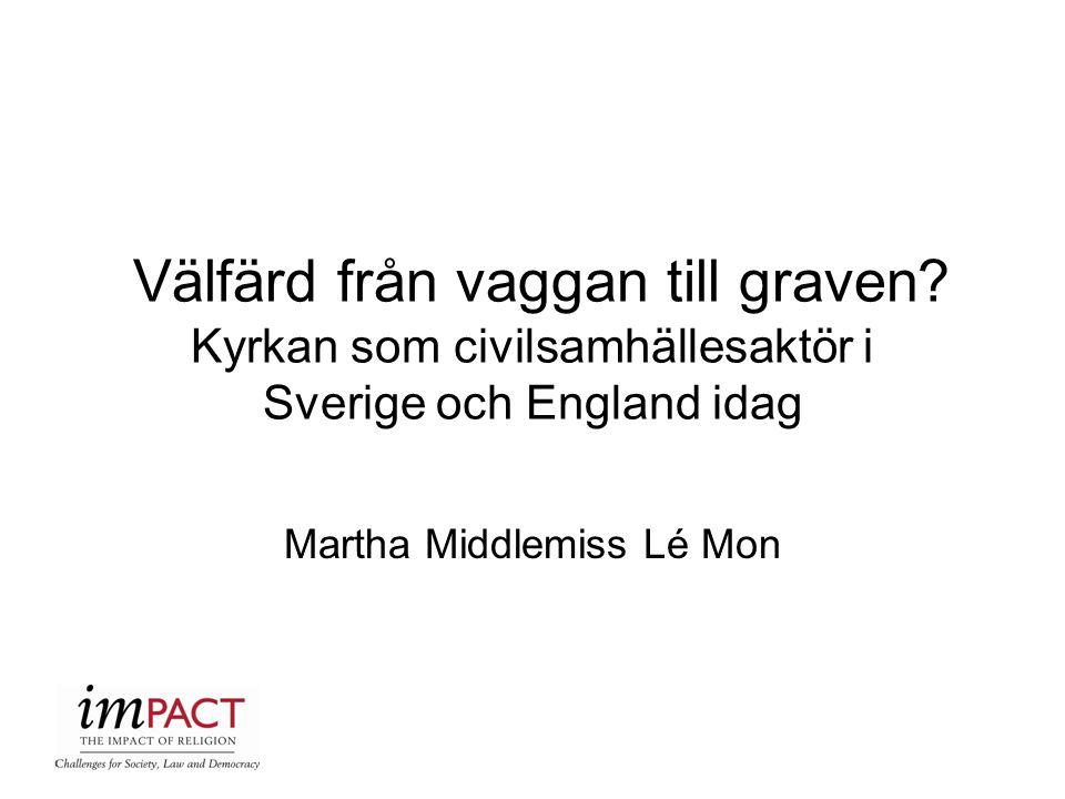 Välfärd från vaggan till graven? Kyrkan som civilsamhällesaktör i Sverige och England idag Martha Middlemiss Lé Mon