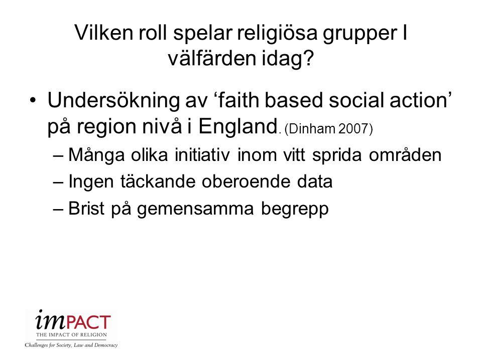 Vilken roll spelar religiösa grupper I välfärden idag? Undersökning av 'faith based social action' på region nivå i England. (Dinham 2007) –Många olik