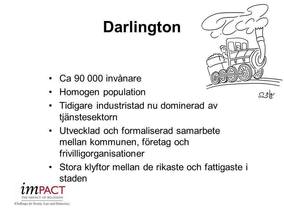 Darlington Ca 90 000 invånare Homogen population Tidigare industristad nu dominerad av tjänstesektorn Utvecklad och formaliserad samarbete mellan komm