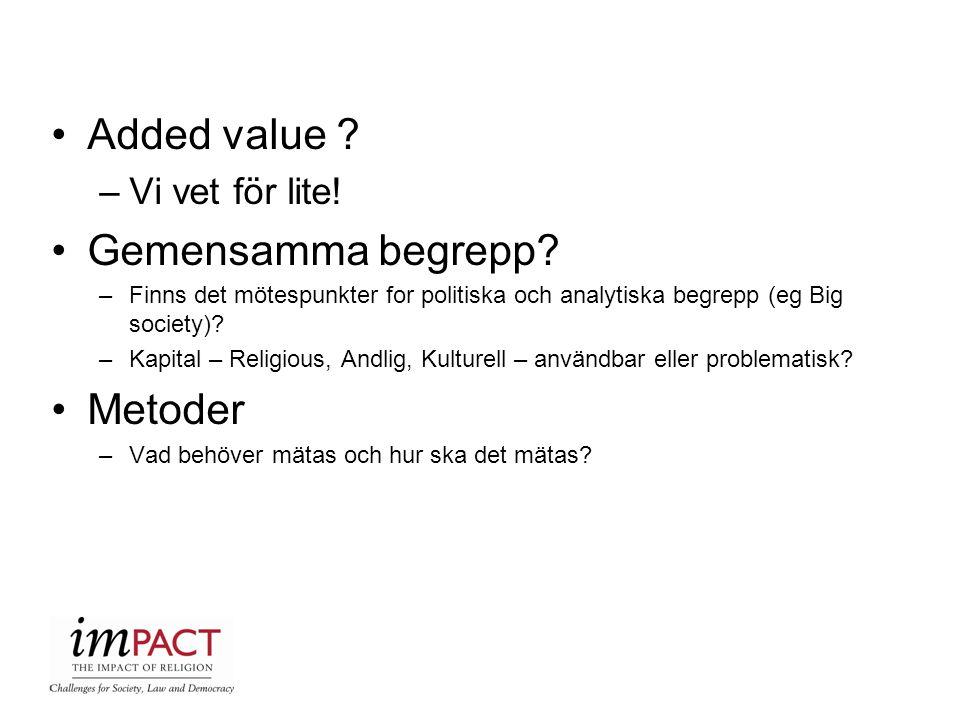 Added value ? –Vi vet för lite! Gemensamma begrepp? –Finns det mötespunkter for politiska och analytiska begrepp (eg Big society)? –Kapital – Religiou