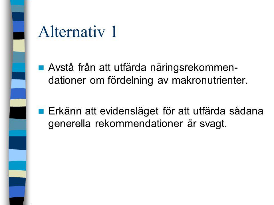 Alternativ 1 Avstå från att utfärda näringsrekommen- dationer om fördelning av makronutrienter.