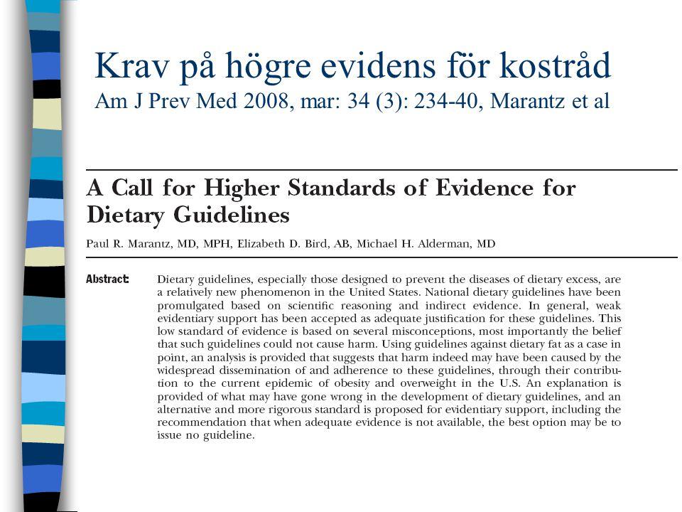 Krav på högre evidens för kostråd Am J Prev Med 2008, mar: 34 (3): 234-40, Marantz et al