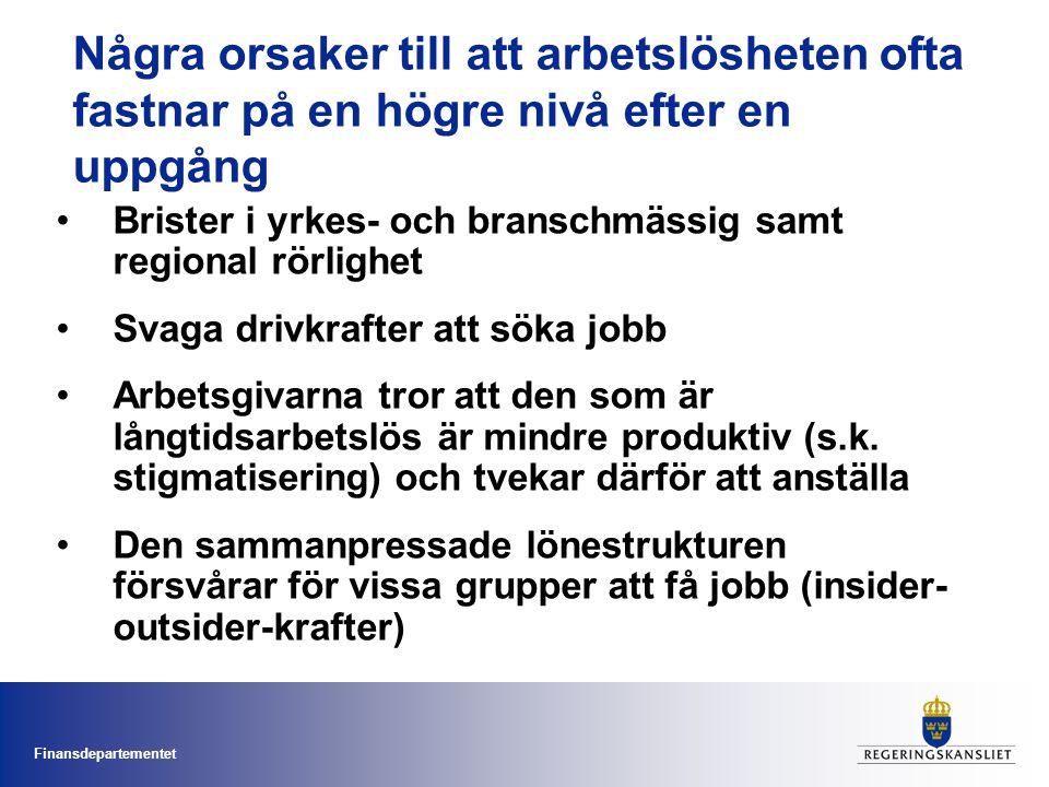 Finansdepartementet Några orsaker till att arbetslösheten ofta fastnar på en högre nivå efter en uppgång Brister i yrkes- och branschmässig samt regio