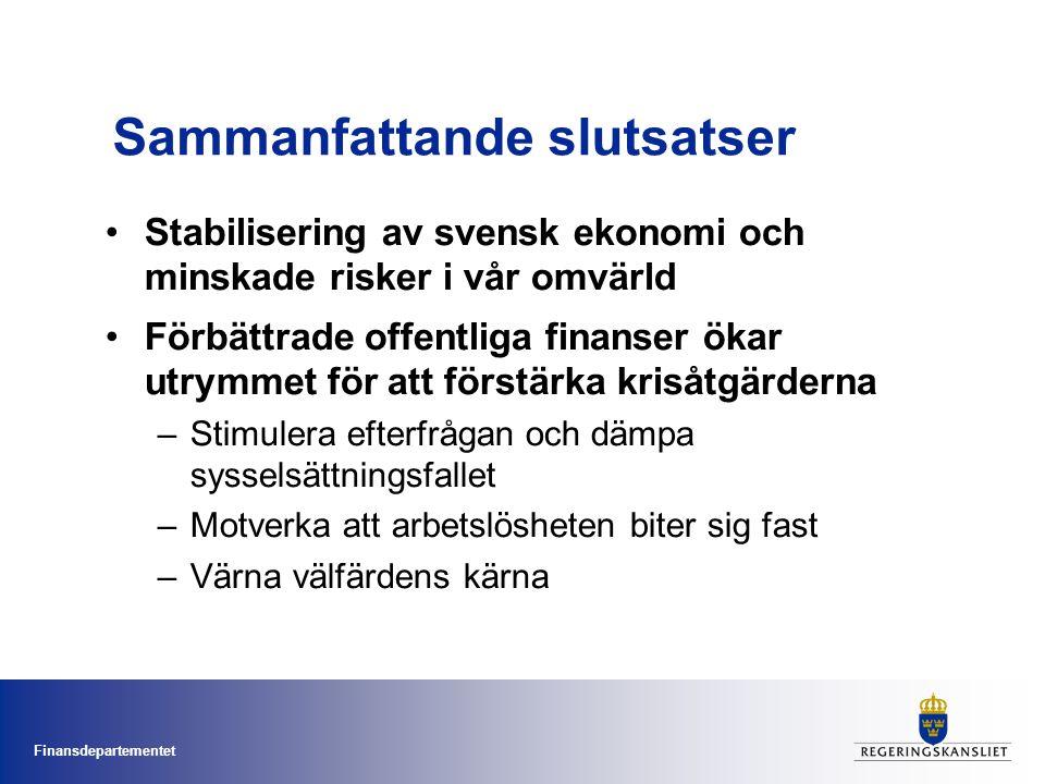 Finansdepartementet Sammanfattande slutsatser Stabilisering av svensk ekonomi och minskade risker i vår omvärld Förbättrade offentliga finanser ökar u