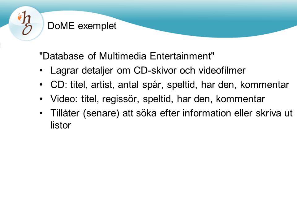 Ny källkod för klassen Database public class Database{ private ArrayList items; /** * Construct an empty Database.