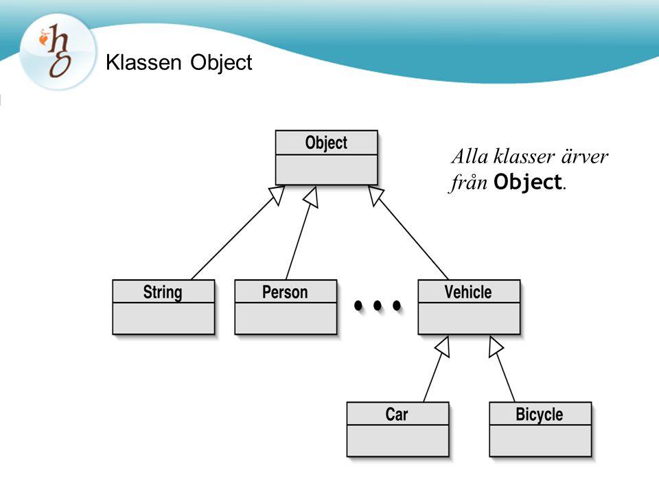Klassen Object Alla klasser ärver från Object.