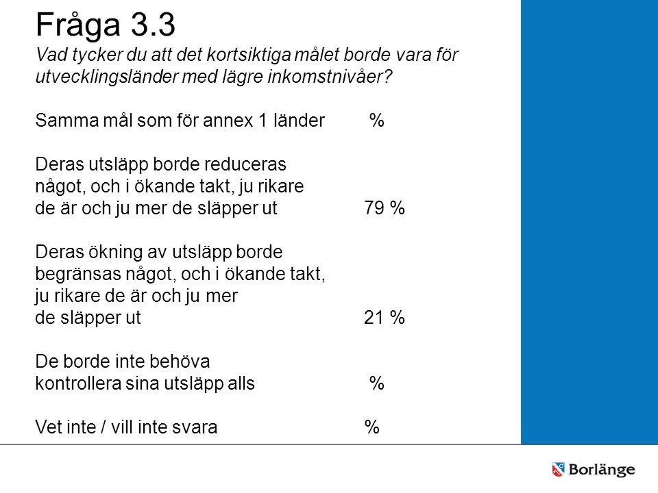 Fråga 3.3 Vad tycker du att det kortsiktiga målet borde vara för utvecklingsländer med lägre inkomstnivåer? Samma mål som för annex 1 länder % Deras u
