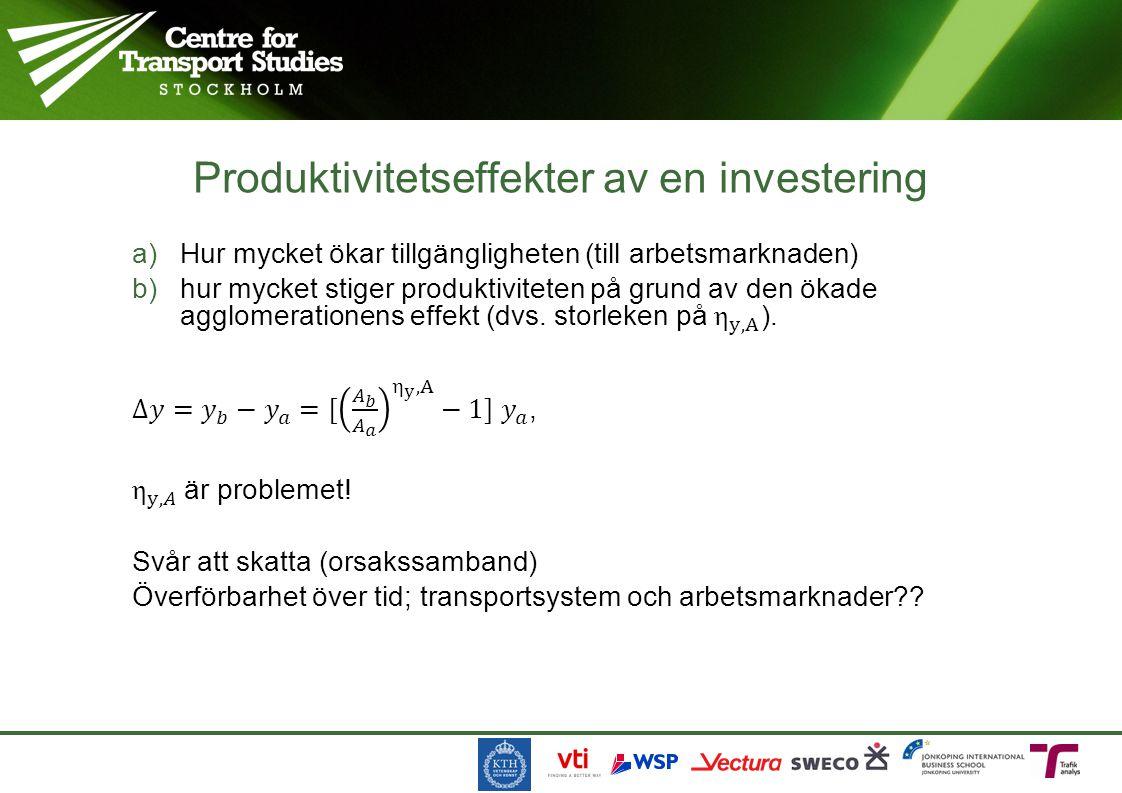 Produktivitetseffekter av en investering
