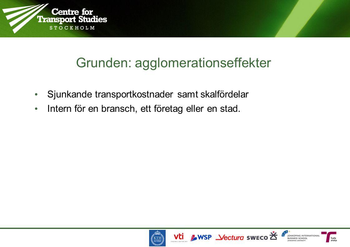 Sjunkande transportkostnader samt skalfördelar Intern för en bransch, ett företag eller en stad.