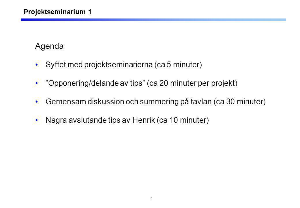 1 Agenda Syftet med projektseminarierna (ca 5 minuter) Opponering/delande av tips (ca 20 minuter per projekt) Gemensam diskussion och summering på tavlan (ca 30 minuter) Några avslutande tips av Henrik (ca 10 minuter) Projektseminarium 1