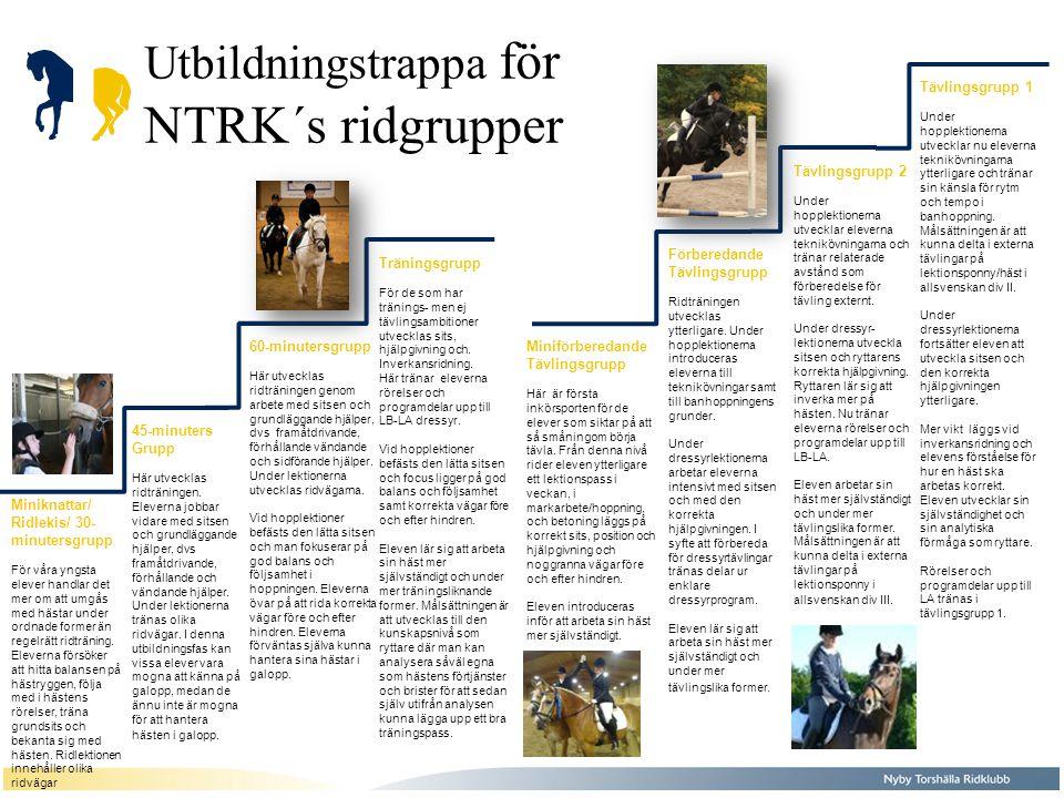 Utbildningstrappa för NTRK´s ridgrupper Miniknattar/ Ridlekis/ 30- minutersgrupp För våra yngsta elever handlar det mer om att umgås med hästar under ordnade former än regelrätt ridträning.