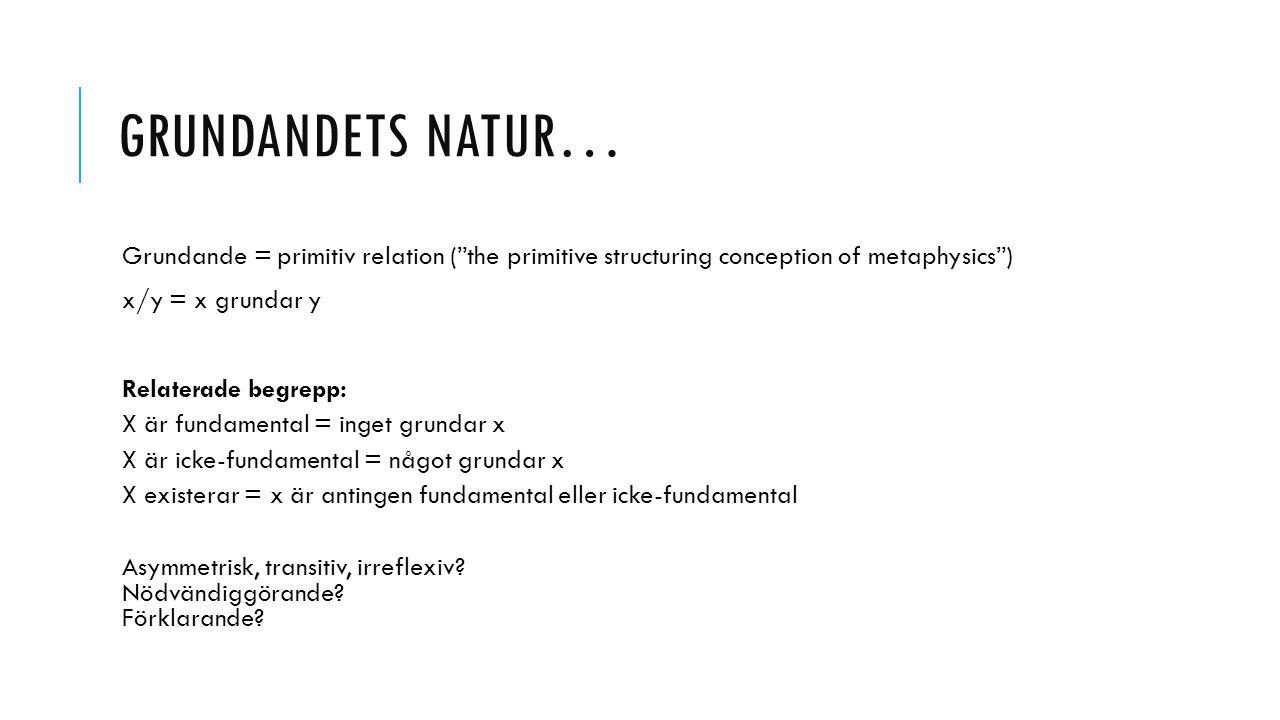 "GRUNDANDETS NATUR… Grundande = primitiv relation (""the primitive structuring conception of metaphysics"") x/y = x grundar y Relaterade begrepp: X är fu"