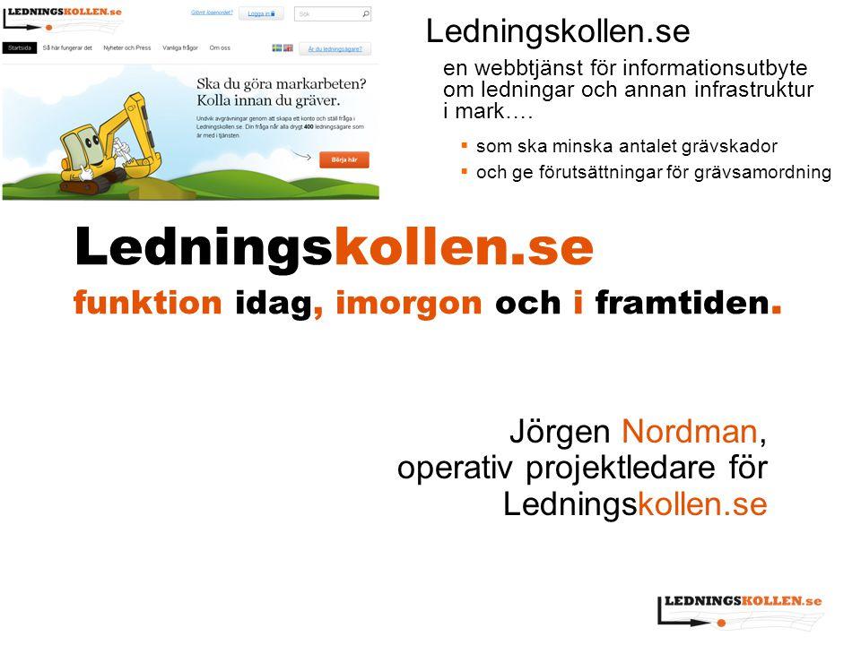 Ledningskollen.se funktion idag, imorgon och i framtiden. Jörgen Nordman, operativ projektledare för Ledningskollen.se Ledningskollen.se en webbtjänst