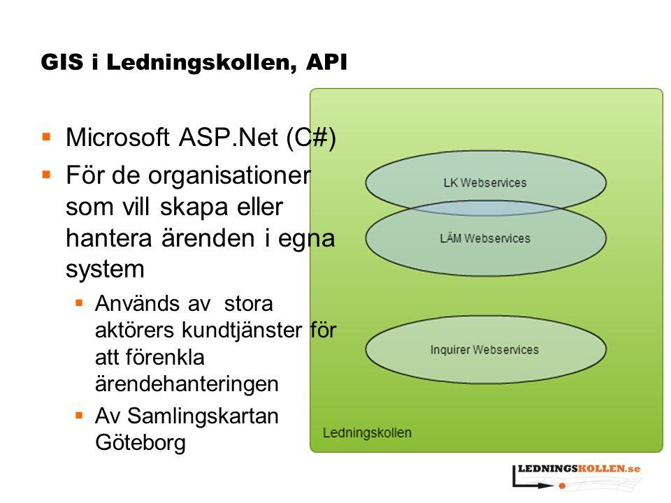 GIS i Ledningskollen, API  Microsoft ASP.Net (C#)  För de organisationer som vill skapa eller hantera ärenden i egna system  Används av stora aktör