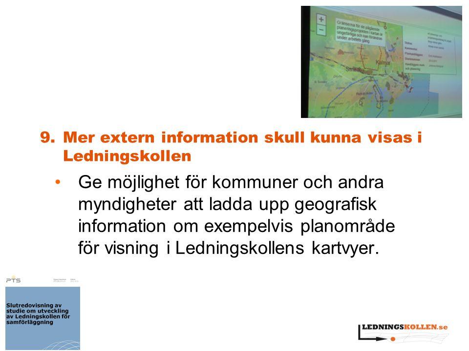 9.Mer extern information skull kunna visas i Ledningskollen Ge möjlighet för kommuner och andra myndigheter att ladda upp geografisk information om ex