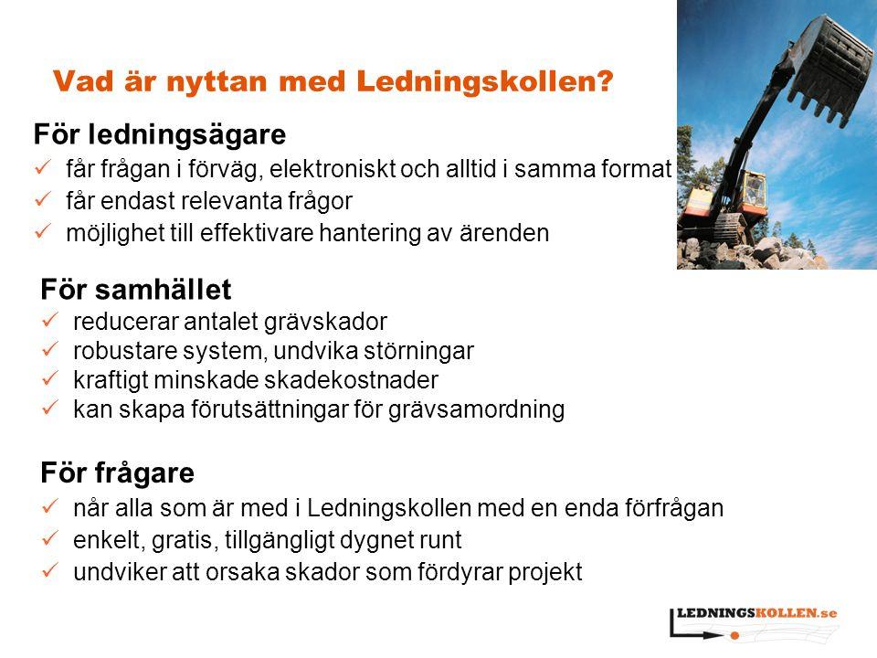 Vad är nyttan med Ledningskollen? För samhället reducerar antalet grävskador robustare system, undvika störningar kraftigt minskade skadekostnader kan