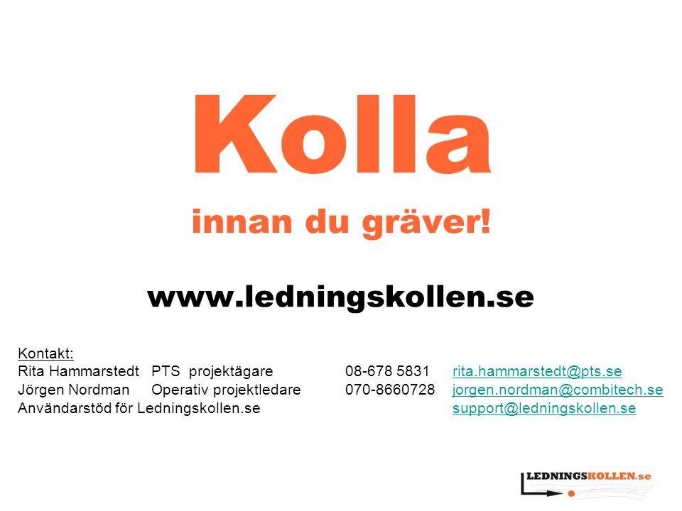 Kolla innan du gräver! www.ledningskollen.se Kontakt: Rita HammarstedtPTS projektägare 08-678 5831rita.hammarstedt@pts.serita.hammarstedt@pts.se Jörge