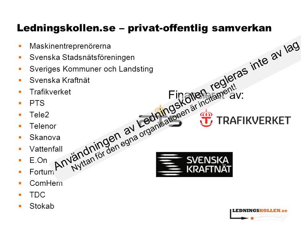 Ledningskollen.se – privat-offentlig samverkan  Maskinentreprenörerna  Svenska Stadsnätsföreningen  Sveriges Kommuner och Landsting  Svenska Kraft