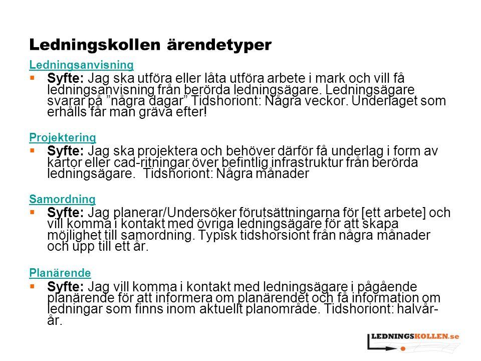Siffror om Ledningskollen.se  7 september 2009 Uppsala län  1 december 2010 resten av Sverige  528 ledningsägare +100 per år hittills  132803 ärenden 2013 (+14 % från 2012)  23000 av privatpersoner, 130000 professionella  90 % ledningsanvisning, 9 % projektering.