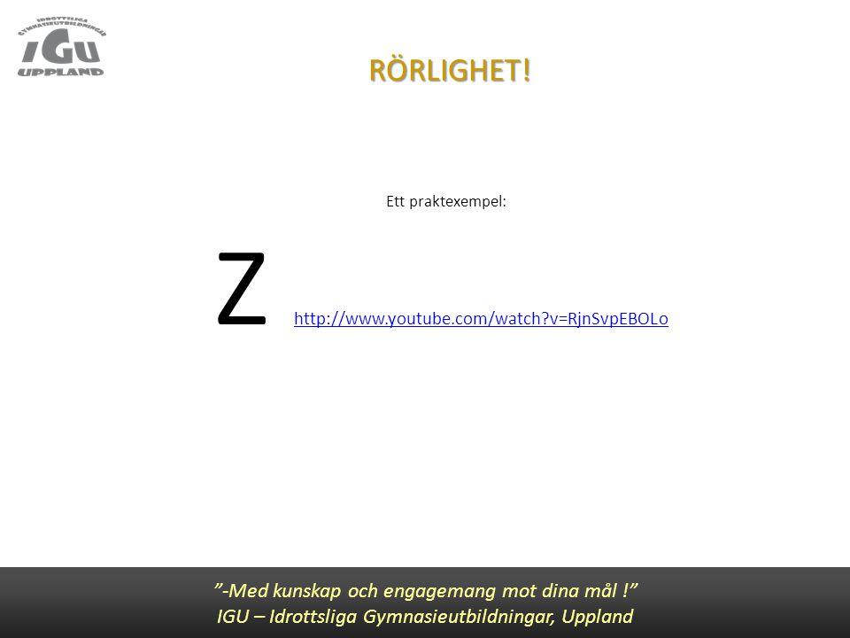 """RÖRLIGHET! Ett praktexempel: Z http://www.youtube.com/watch?v=RjnSvpEBOLo http://www.youtube.com/watch?v=RjnSvpEBOLo """"-Med kunskap och engagemang mot"""